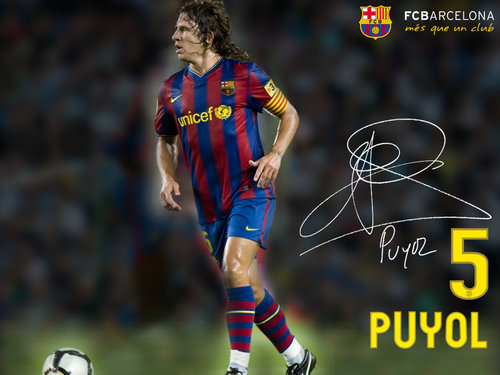 FC Barcelona wallpaper possibly with a forward, a fullback, and a soccer player titled Carles Puyol Season 2009/10