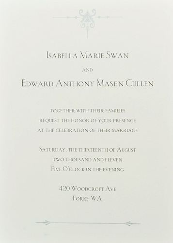 Edward and Bella wallpaper called Edward and Bella's wedding invitation card