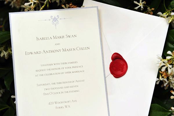 Edward and Bella's wedding invitation card