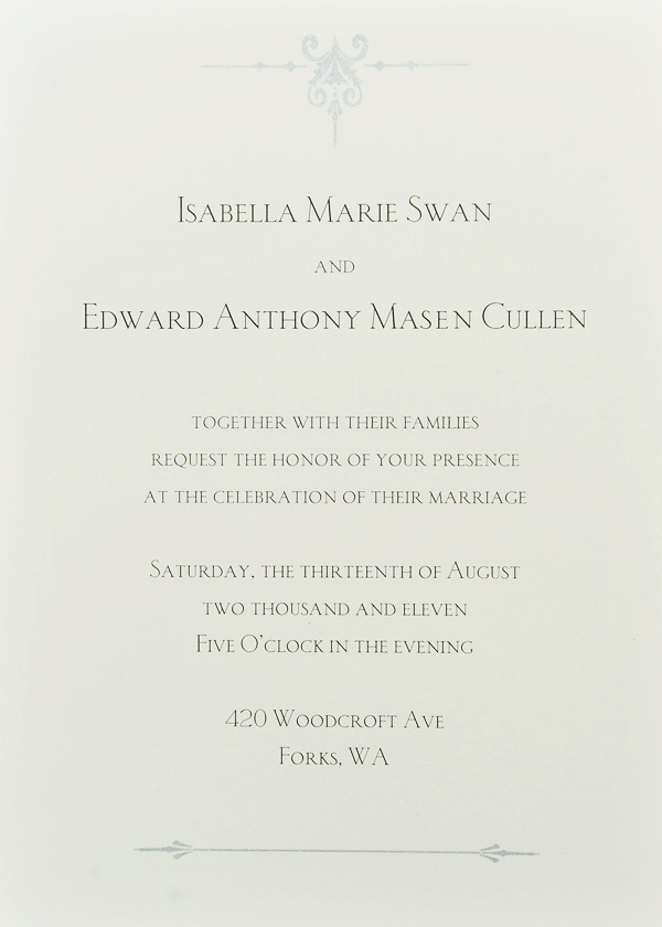 Edward And Bellas Wedding Invitation Card