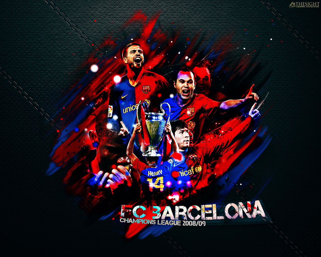FC Barcelona CL Winner of 2008/09 Обои