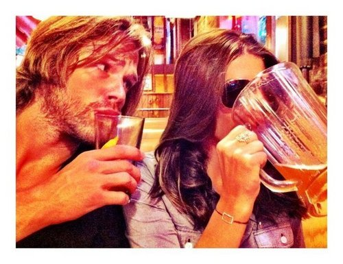Jared Padalecki & Genevieve Cortese wallpaper probably containing alcohol called Jared&GenPadalecki