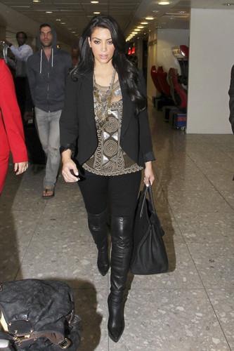 Kim Kardashian at Heathrow airport.