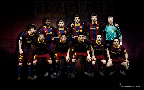FC Barcelona wallpaper with a football and a lineman called Line Up 2010/11