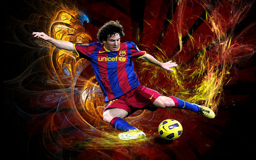 Lionel Andres Messi wallpaper probably containing a soccer player, a soccer ball, and a running back titled Lionel Messi FC Barcelona Wallpaper