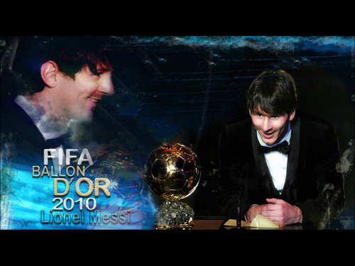 Lionel Andres Messi wallpaper probably with a sign entitled Lionel Messi FIFA Ballon d'Or 2010 Wallpaper