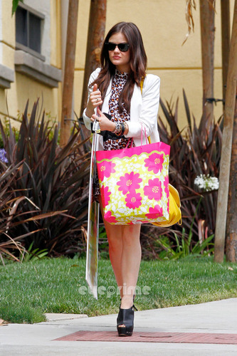 Lucy Hale is seen carrying her Seventeen Magazine Poster in Brentwood, Jun 4