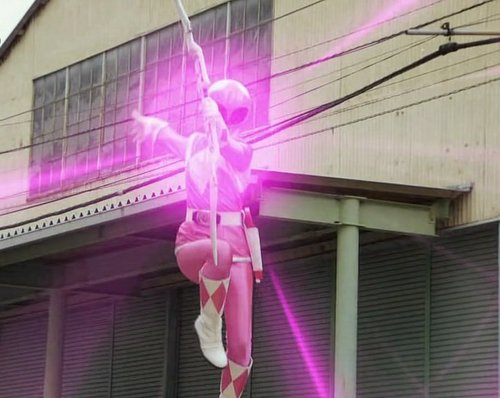 The Power Rangers wallpaper possibly with a street and an awning titled Pink Ranger
