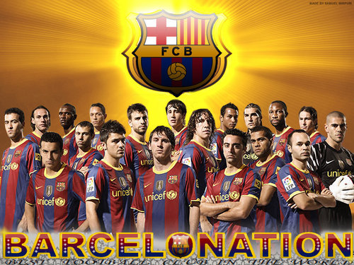 FC Barcelona پیپر وال titled Season 2010/11 Squad