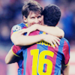 Sergio Busquets and Lionel Messi