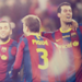Dani Alves, Gerard Pique and Sergio Busquets