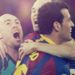 Victor Valdes, Andres Iniesta and Sergio Busquets