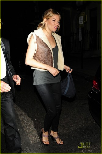 Sienna Miller leaves the Theatre Royal Haymarket after performing in Flare Path on Friday (June 3)