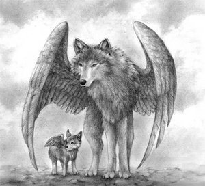 Winged Mbwa mwitu loups Mother and Pup