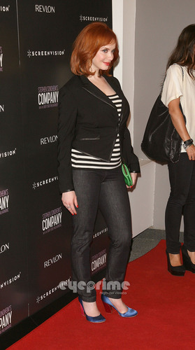 Christina Hendricks wallpaper possibly with bare legs, a hip boot, and tights entitled 'The Company' New York Premiere
