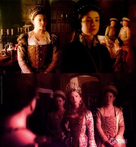Anne Boleyn and Katherine Howard ( with Mary Tudor)