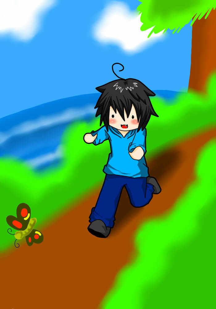 Caelan chasing a vlinder