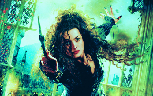 Bellatrix Lestrange kertas dinding with a konsert entitled Deathly Hallows Action Wallpaper: Bellatrix Lestrange
