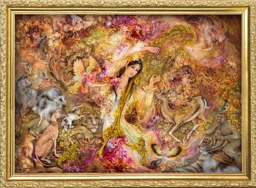 Fine Art Hintergrund probably with Anime called Indian painter M. F. Hussain