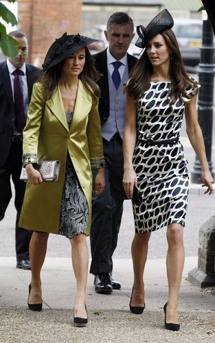 Kate and Pippa Middleton at a wedding in Berkshire.