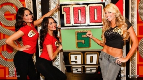 """Kelly & The Bellas Twins in """"The Price is Right""""."""