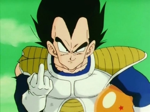 LOOK AT THE GROUND BACK TO VEGETA HE IS FLIPING YOU OFF!