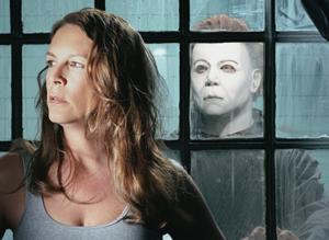 Michael Myers wolpeyper possibly containing a holding cell, a penal institution, and a portrait entitled Laurie Strode and Michael Myers