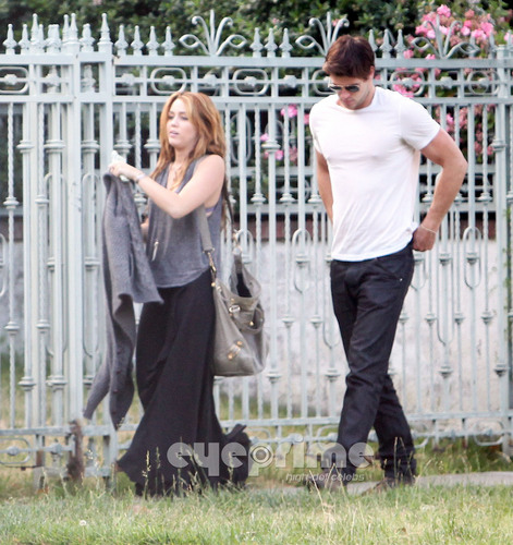 Miley Cyrus and Liam Hemsworth were spotted outside Liam's house
