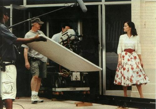 Reese on the set for Walk the Line