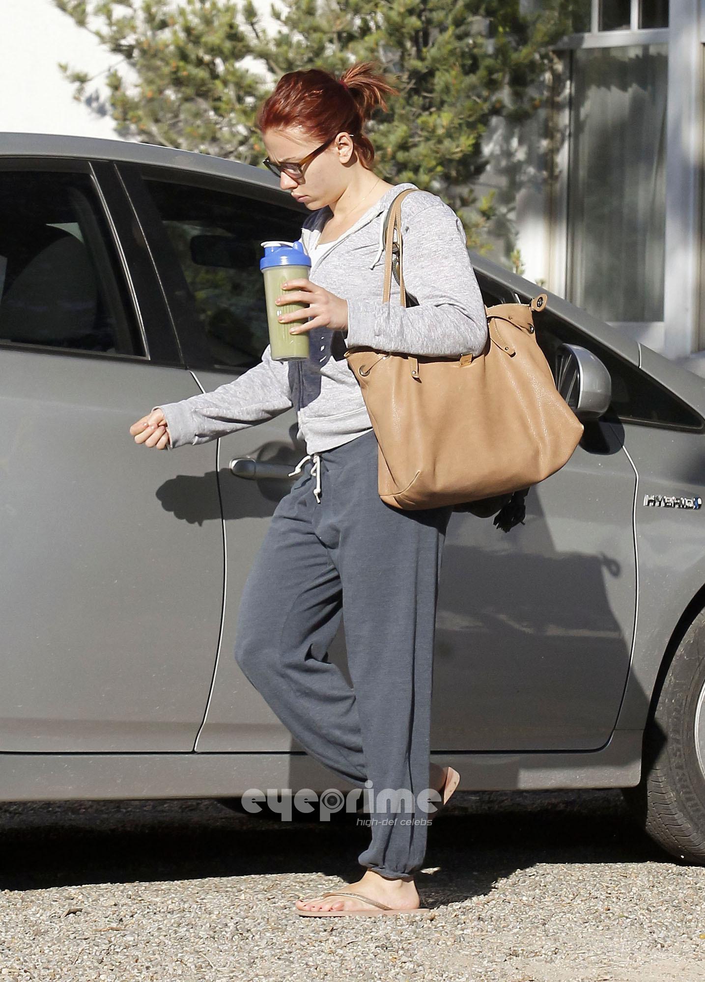 "Scarlett Johansson makes her way to ""The Avengers"" Film Set"