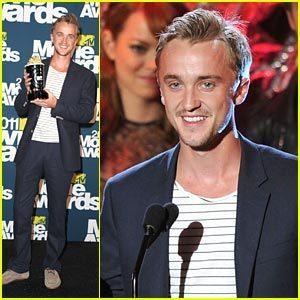 Tom Felton winner of the Mtv awards best villan