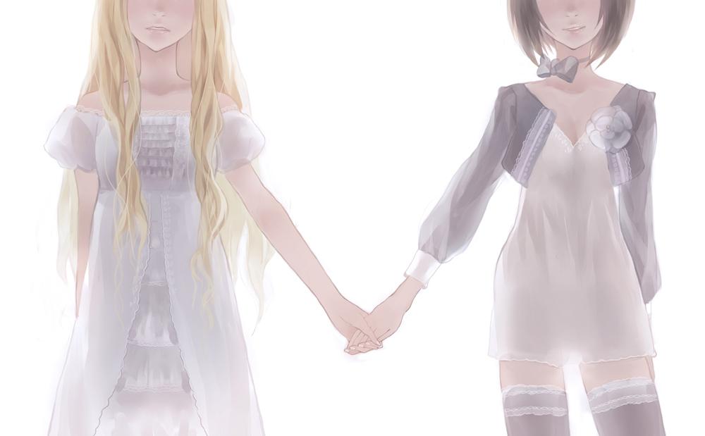 anime girls holding ha...