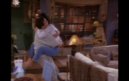 Monica and Chandler wallpaper called monica jumping into chandlers arms and wrapping her legs around his waist