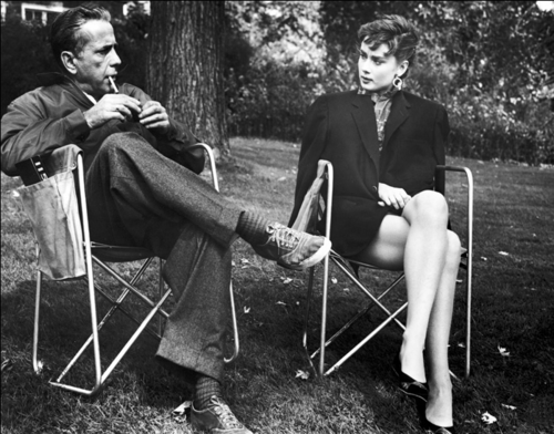 Audrey Hepburn wallpaper entitled  Humphrey Bogart with Audrey Hepburn, Sabrina 1954