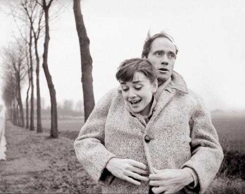 Audrey Hepburn with her husband Mel Ferrer.