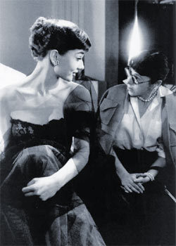 Audrey and Edith Head at Paramount Studios in 1953.