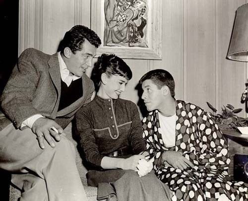 Dean Martin, Audrey Hepburn and Jerry Lewis