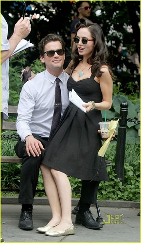 Eliza Dushku: White kraag Set with Matt Bomer!
