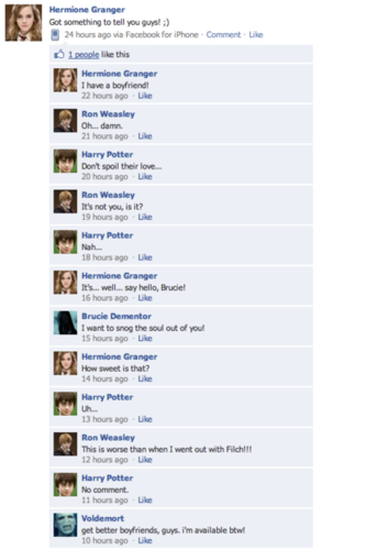 Death Eaters VS Order of the Phoenix wallpaper entitled HP Characters on Facebook!