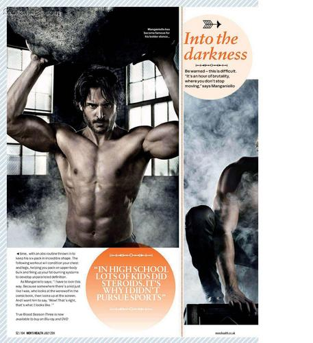 Joe Manganiello Hintergrund containing a newspaper entitled Joe in Men's Health Magazine