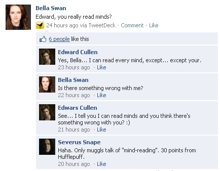 Twilight Characters on Facebook!