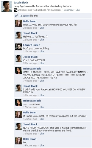 Harry Potter vs Twilight fond d'écran entitled Twilight and Harry Potter Facebook Conversations!