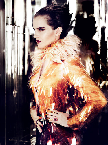Emma Watson wallpaper possibly with a fur coat titled Vogue US (by Mario Testino)