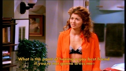 Will & Grace wallpaper possibly containing an outerwear, a box coat, and a well dressed person entitled What's the point of a gay best friend?