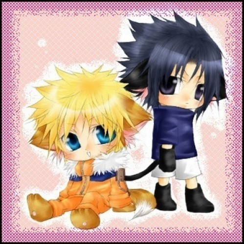 naruto and sasuke cute gatitos