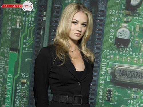 Yvonne Strahovski Hintergrund possibly with a well dressed person and a portrait entitled ys