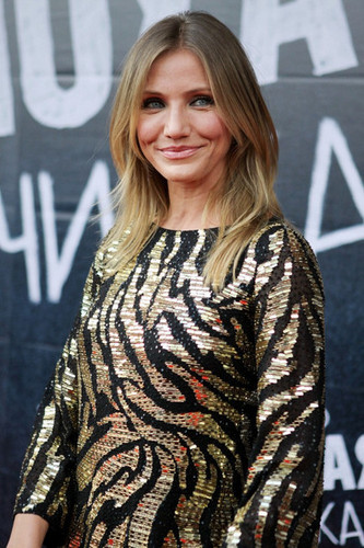Actress Cameron Diaz is seen arriving for the Moscow premiere of Bad Teacher.