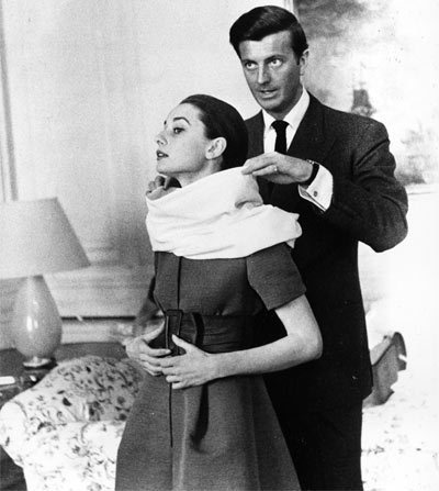 Audrey Hepburn wallpaper containing a business suit called Audrey Hepburn and  Hubert de Givenchy