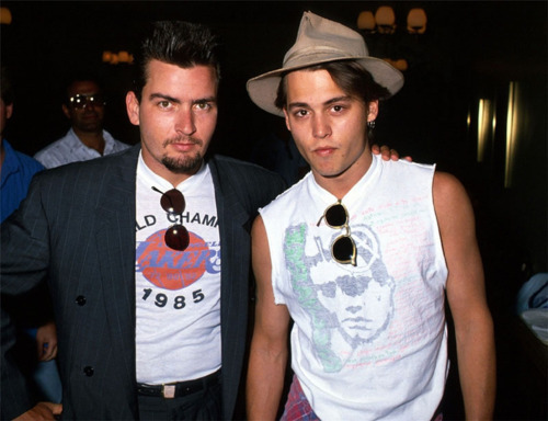 Charlie Sheen & Johnny Depp in 1988