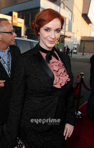 "Christina Hendricks wallpaper containing a business suit entitled Christina Hendricks arrives at the ""Drive"" Gala Premiere in L.A, June 17"